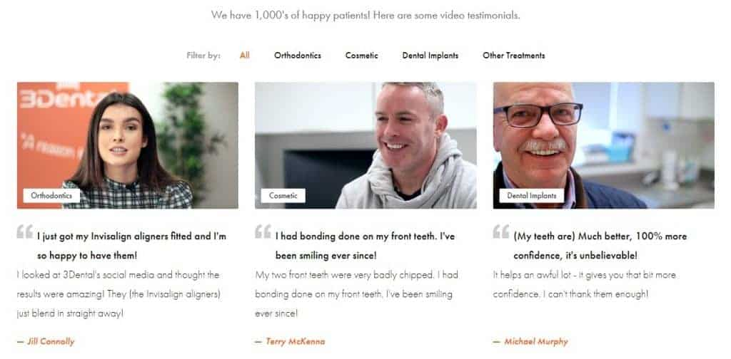 Testimonials for 3Dental that will help boost their SEO