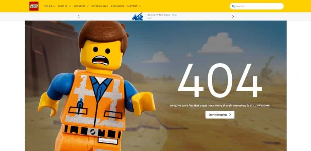 Clever use of a 404 error page by Lego