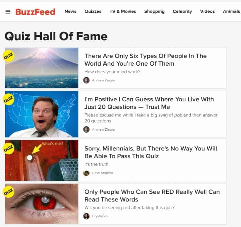 Buzzfeed quizzes that obtain multiple natural backlinks