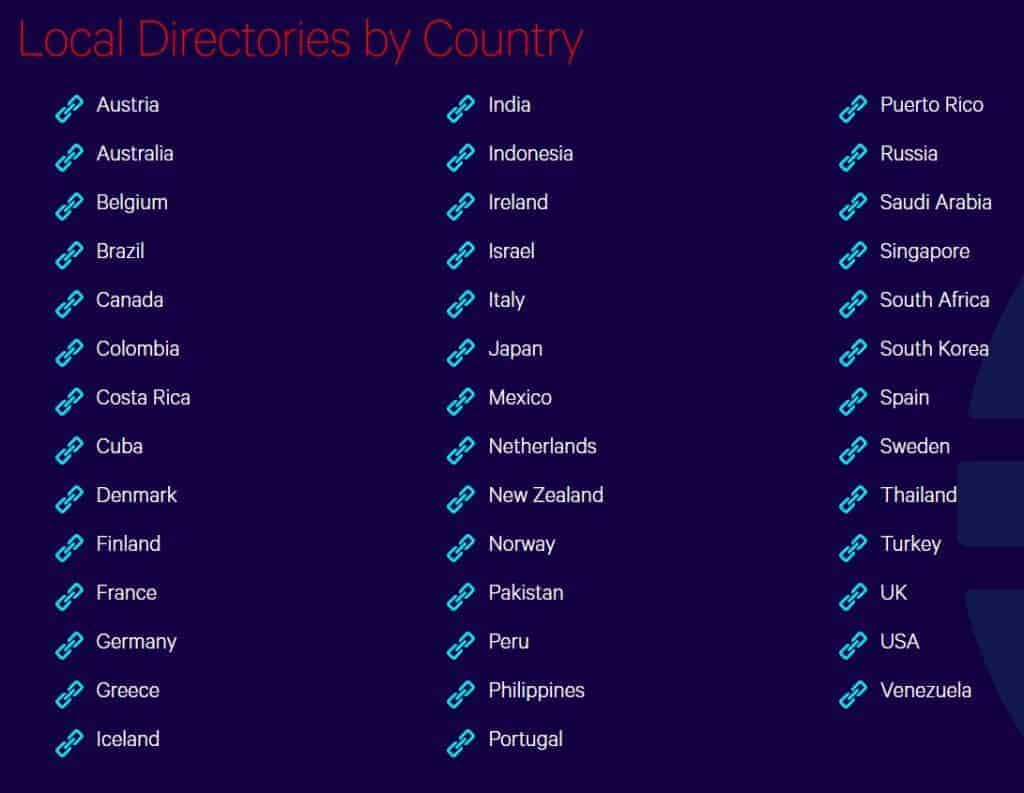 Local Directory Lists by Country