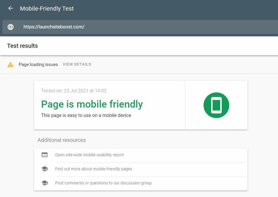 Positive Mobile Friendly Website Check