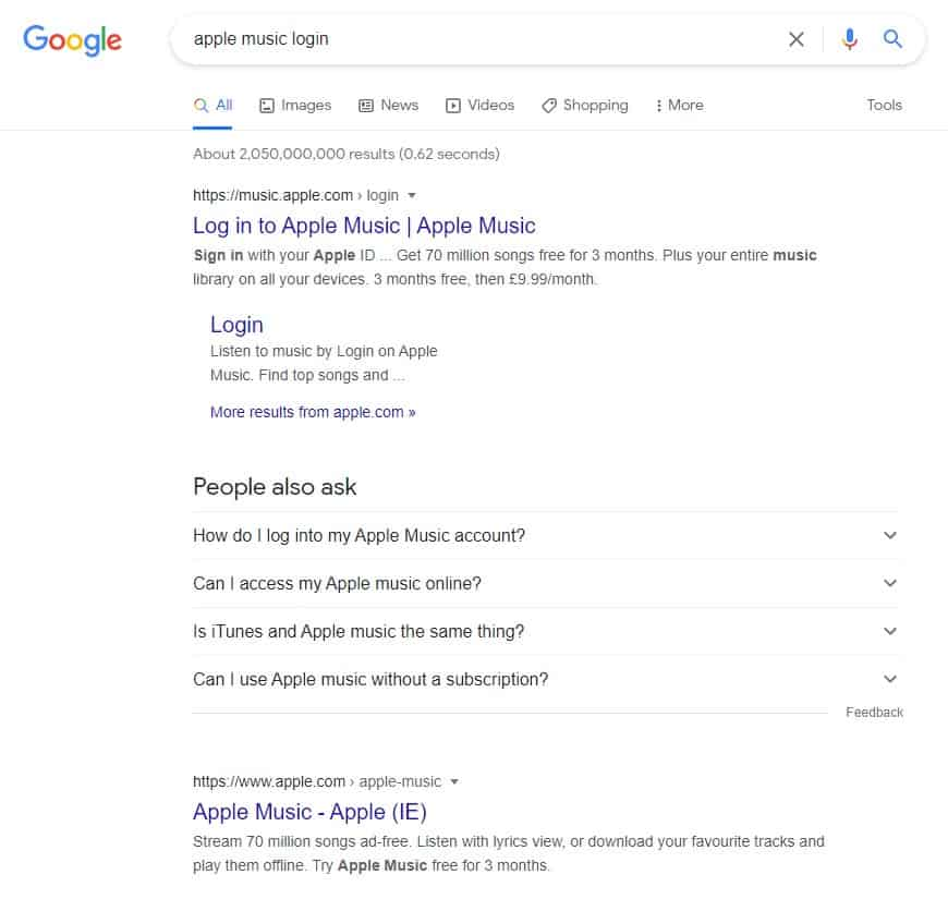 Navigational Search Intent Example in Google Search Results