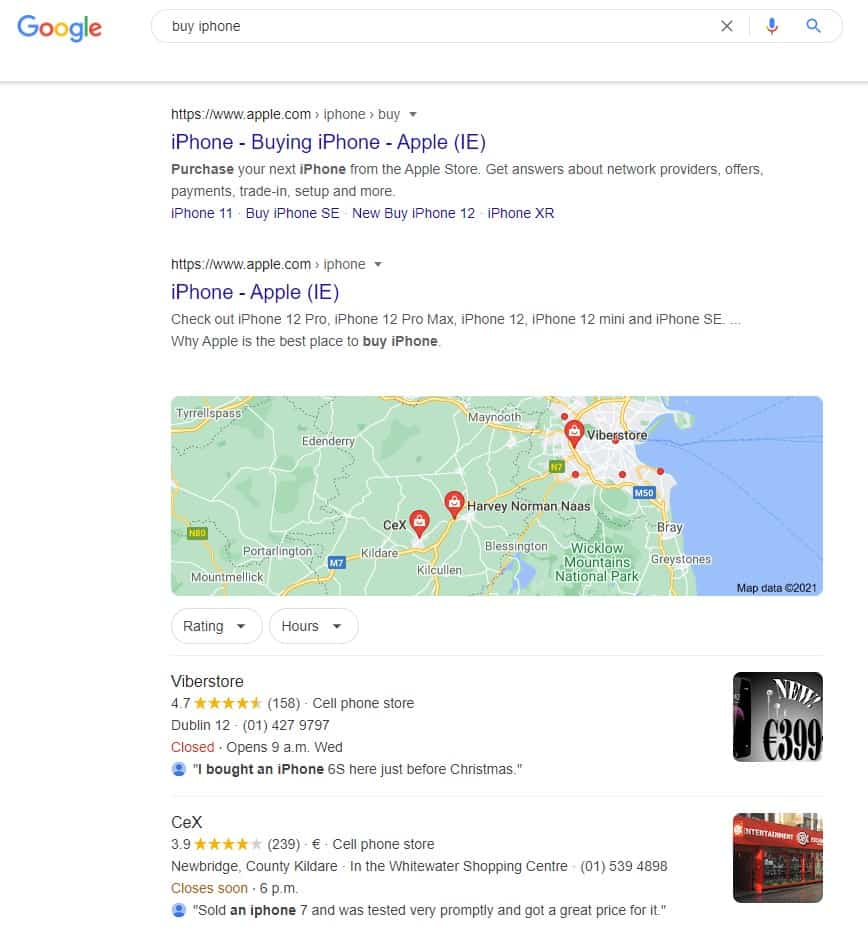 Transactional Search Intent Example in Google Search Results